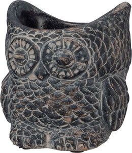 Black Cement Owl Planter