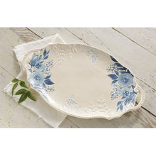 Load image into Gallery viewer, Blue Floral Handle Platter by Mud Pie