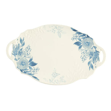 Blue Floral Handle Platter by Mud Pie