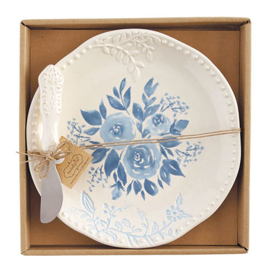 Blue Floral Cheese Set by Mud Pie
