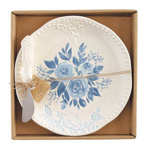 Blue Floral Cheese Set
