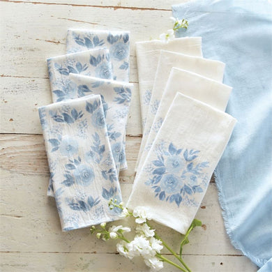 Blue Floral Napkins S/4 by Mud Pie