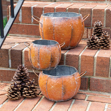 Weathered Iron Pumpkin Containers