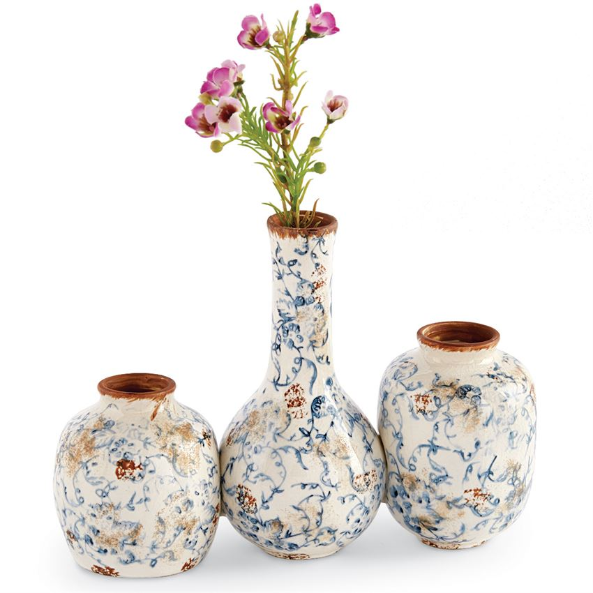 Blue Floral Vase Set by Mud Pie