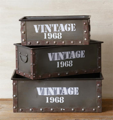 Vintage Drawer Bins, Set of 3