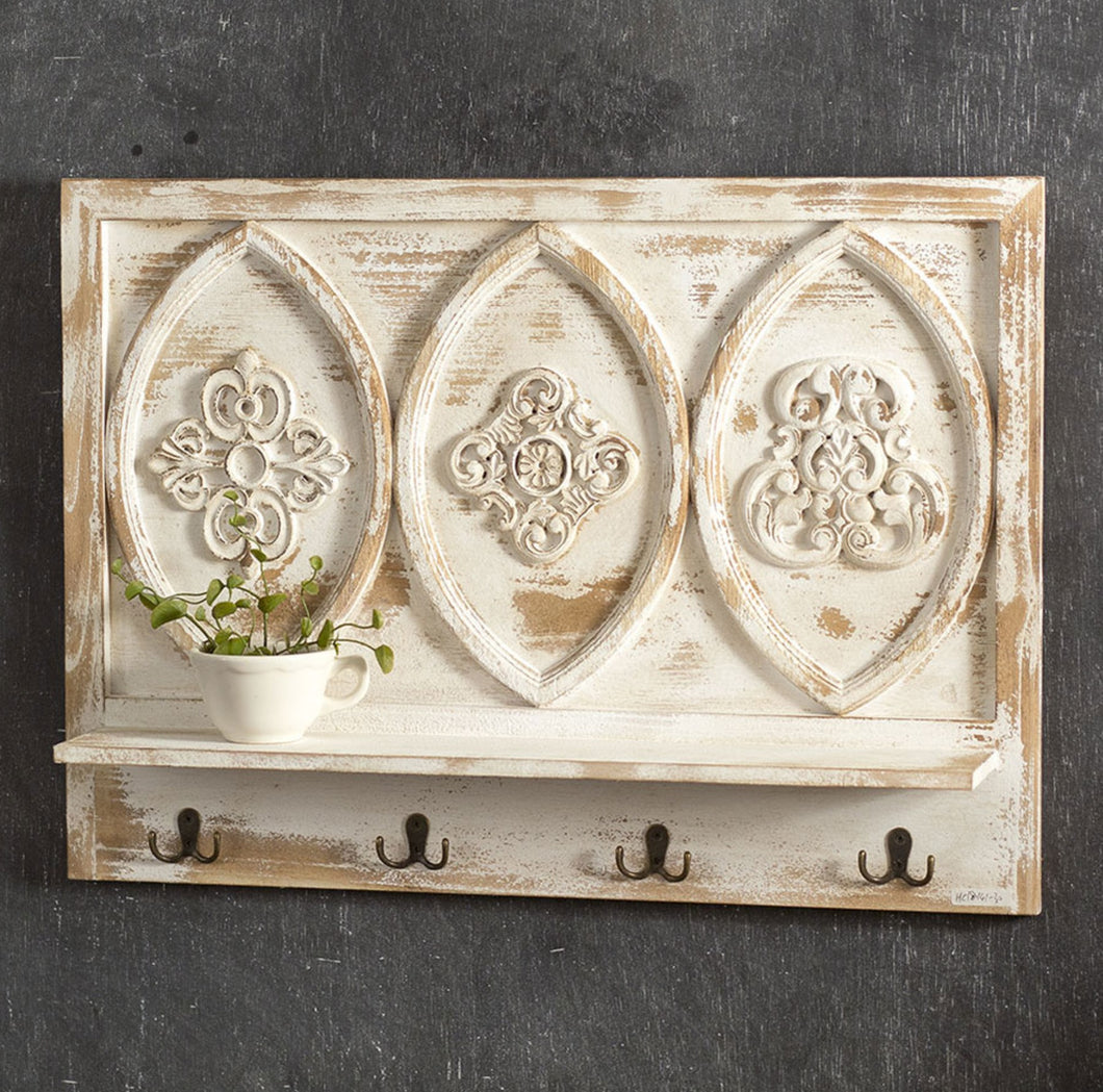 Carved Medallion Shelf w/ Hooks