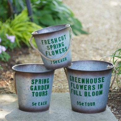 Greenhouse Flower Pails, Set of 3