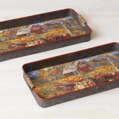 Pumpkin Patch Trays, Set of 2