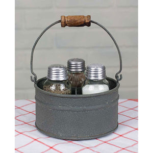 Salt Pepper Toothpick Caddy Set - Barn Roof