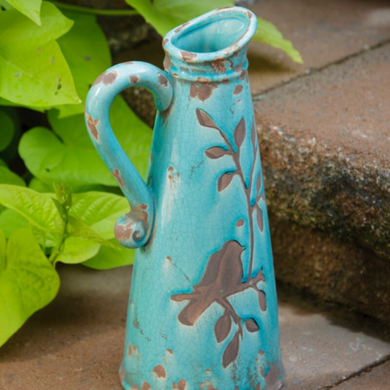 Birds & Branches Pitcher in Turquoise