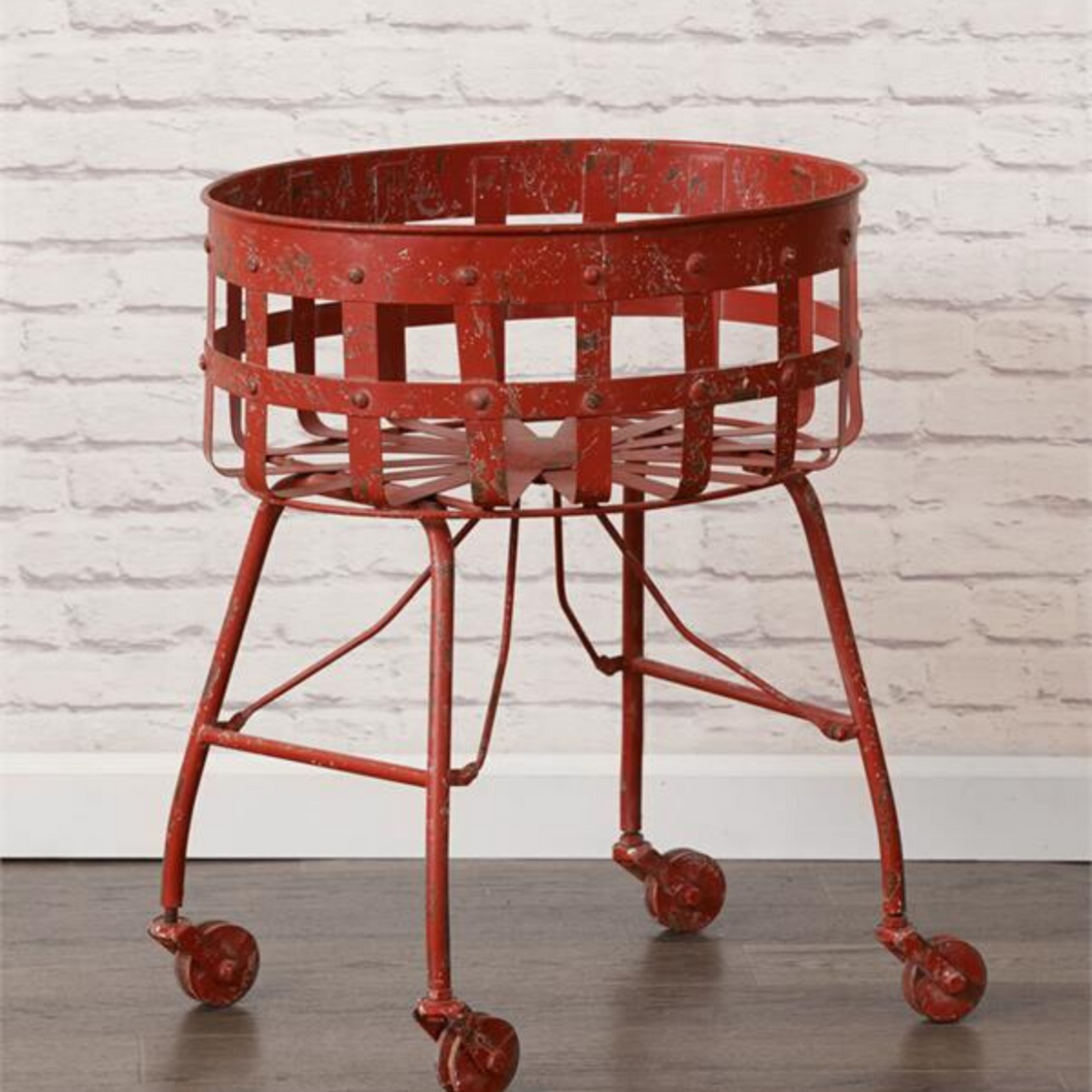 Rolling Red Metal Basket