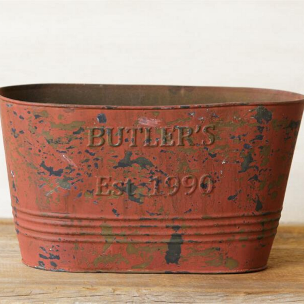 Aged Red Oval Planter