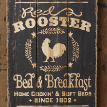 Load image into Gallery viewer, Carved Wood Rooster Sign
