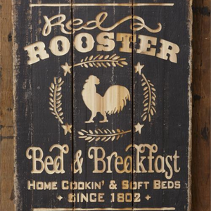 Carved Wood Rooster Sign