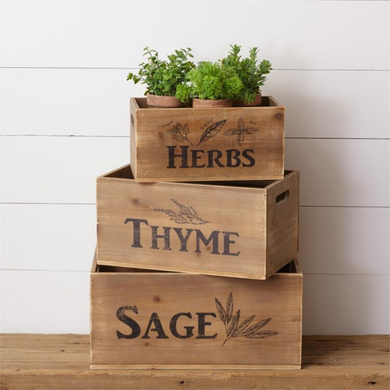 Rustic Herb Crates, Set of 3