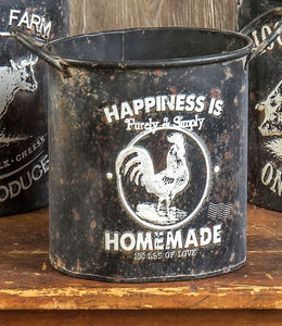 Black Metal Embossed Farm Pots, Set of 3