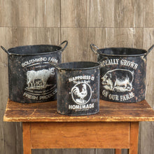 Load image into Gallery viewer, Black Metal Embossed Farm Pots, Set of 3