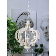 Load image into Gallery viewer, Ornate Wood & Metal Chandelier White