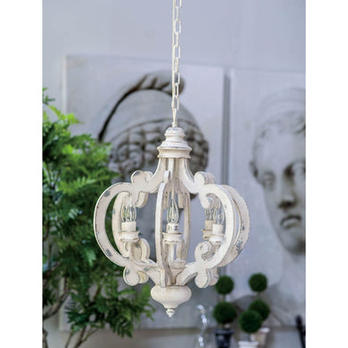 Ornate Wood & Metal Chandelier White