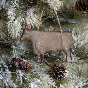 Oversized Metal Cow Ornament