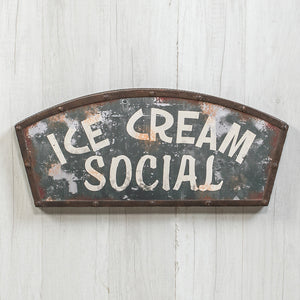 Metal Ice Cream Social Sign