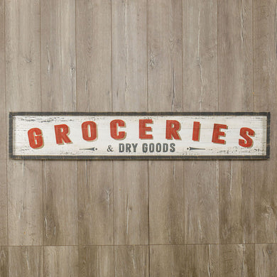 Painted Wood Groceries Sign - HUGE