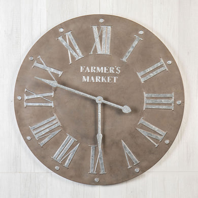 Leather Look Metal Clock