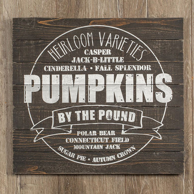 Pumpkin Varieties Sign