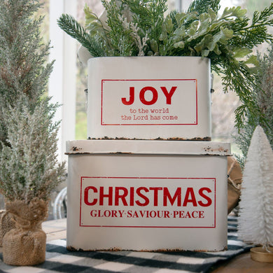 Distressed Metal Christmas Boxes, set of 2