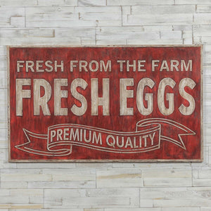 Red Fresh Eggs Metal Sign *HUGE*