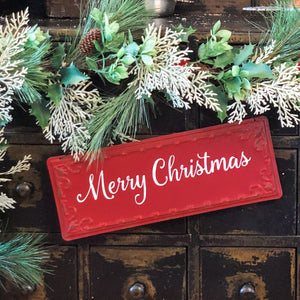 Red Merry Christmas Hanging Sign