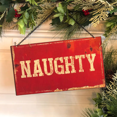 Nice & Naughty 2-Sided Metal Sign