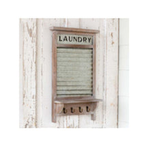 Load image into Gallery viewer, Vintage-Style Washboard w/ Shelf & Hooks