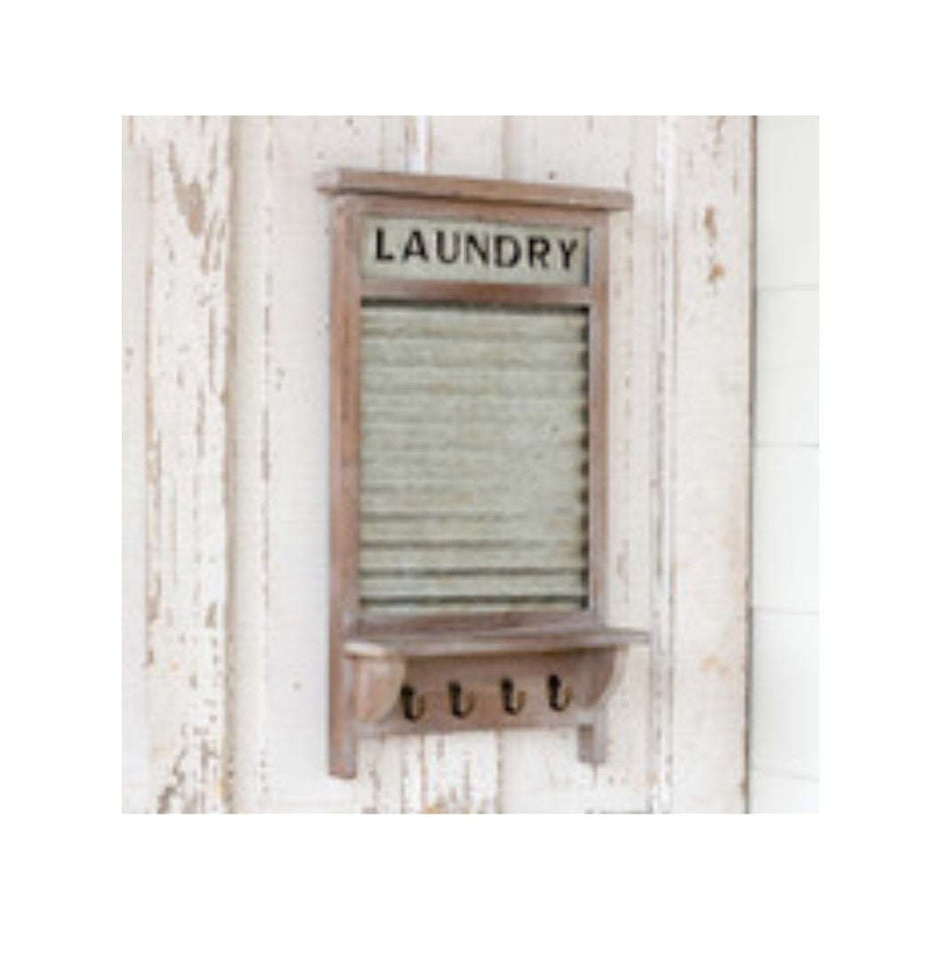 Vintage-Style Washboard w/ Shelf & Hooks