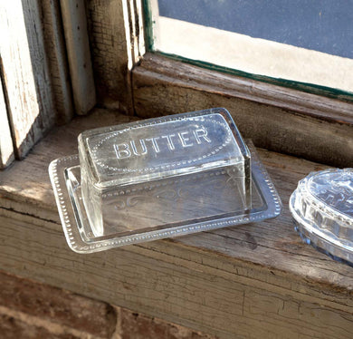Glass Embossed Butter Dish