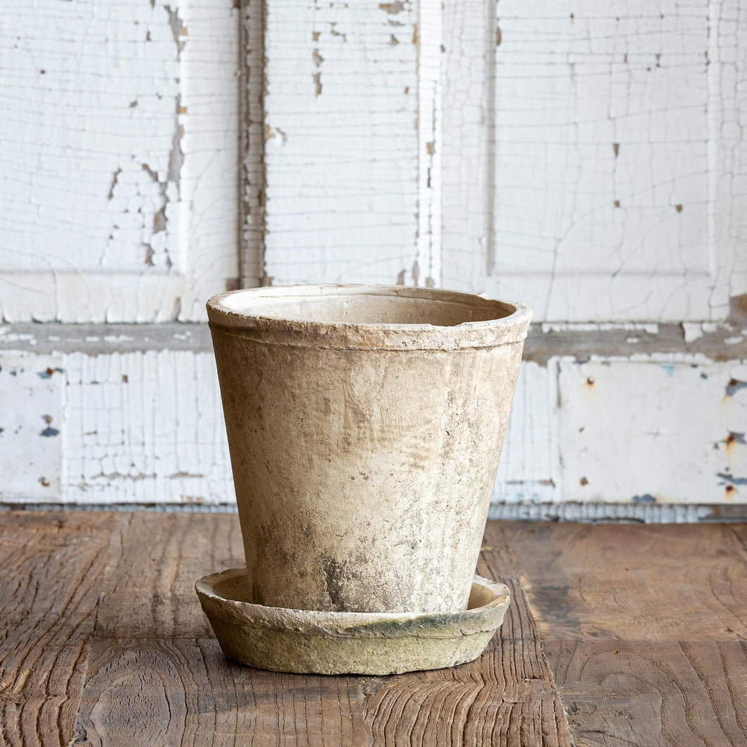 Antiqued Pot w/ Saucer Medium