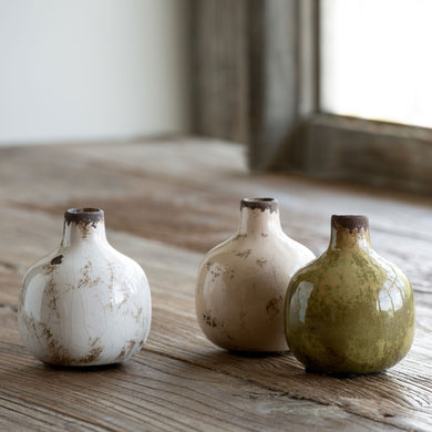Bud Vases in Neutrals, Set of 3