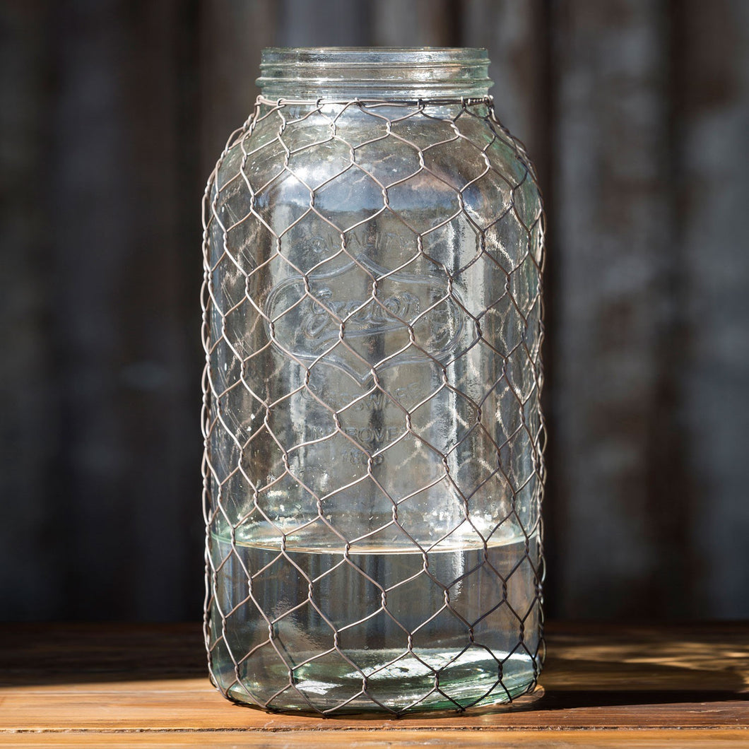 Primitive Wire-Covered Collection Jar, XL