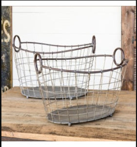 Wire Laundry Baskets, Set of 2