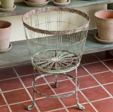 Aged Wire Basket on Stand