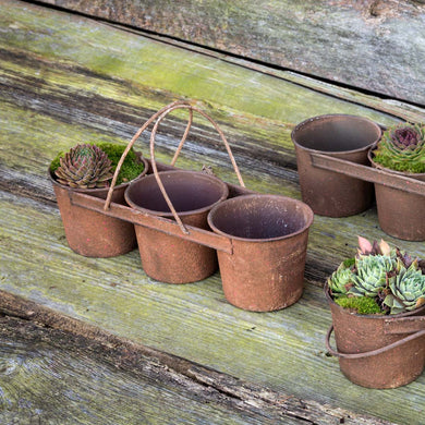 Rustic Tin Can Caddy w/ 3 Pots