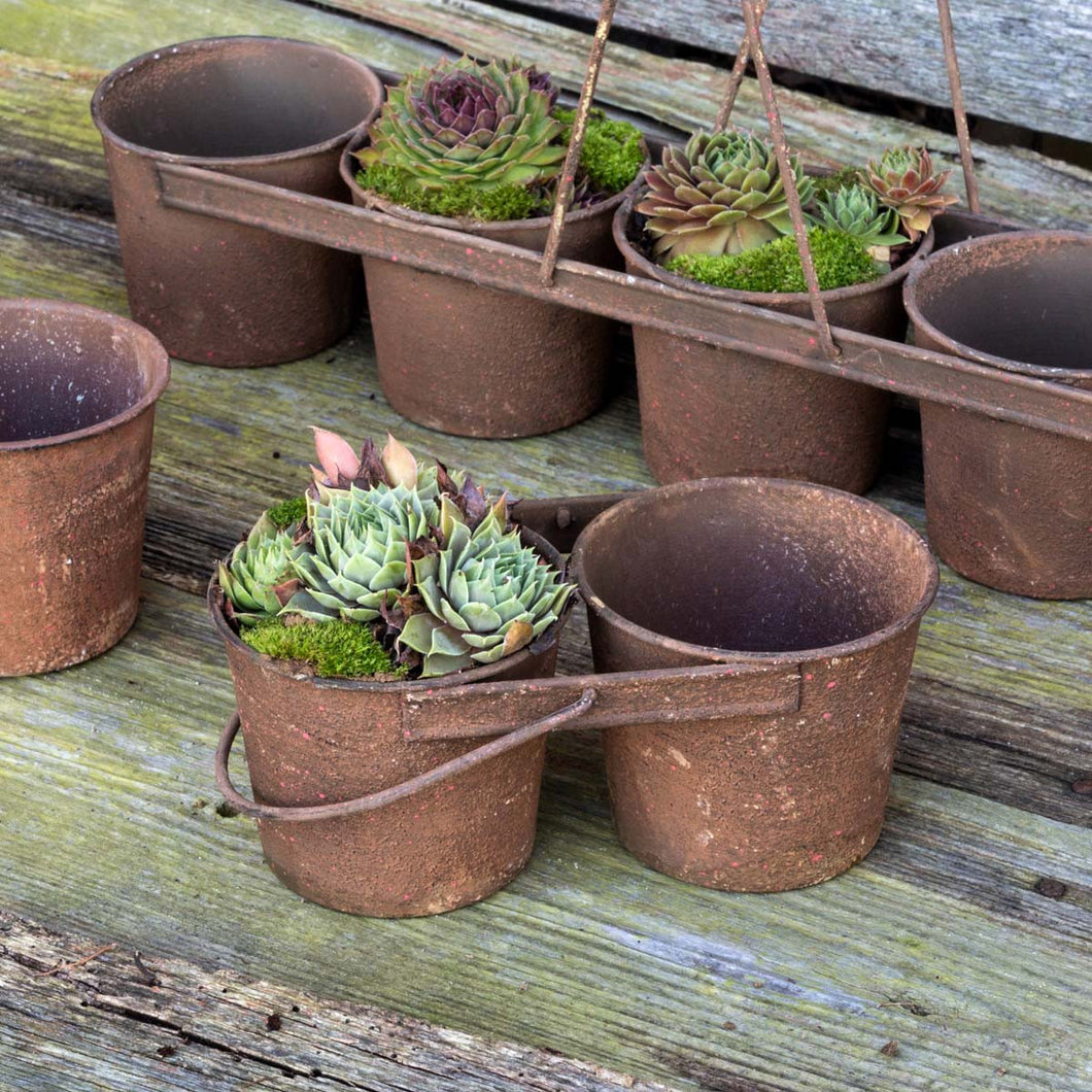 Rustic Tin Can Caddy w/ 2 Pots