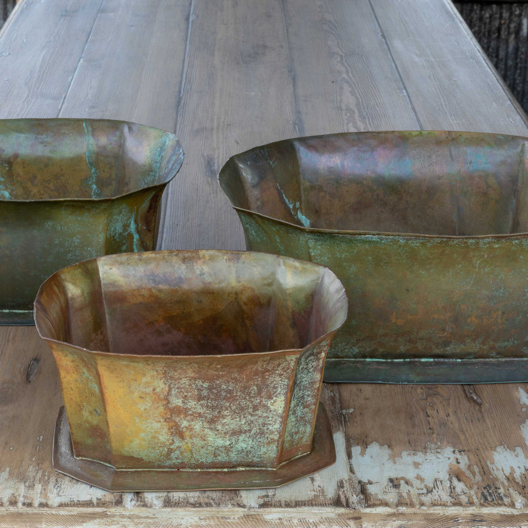 Green Patina Planters, Set of 3