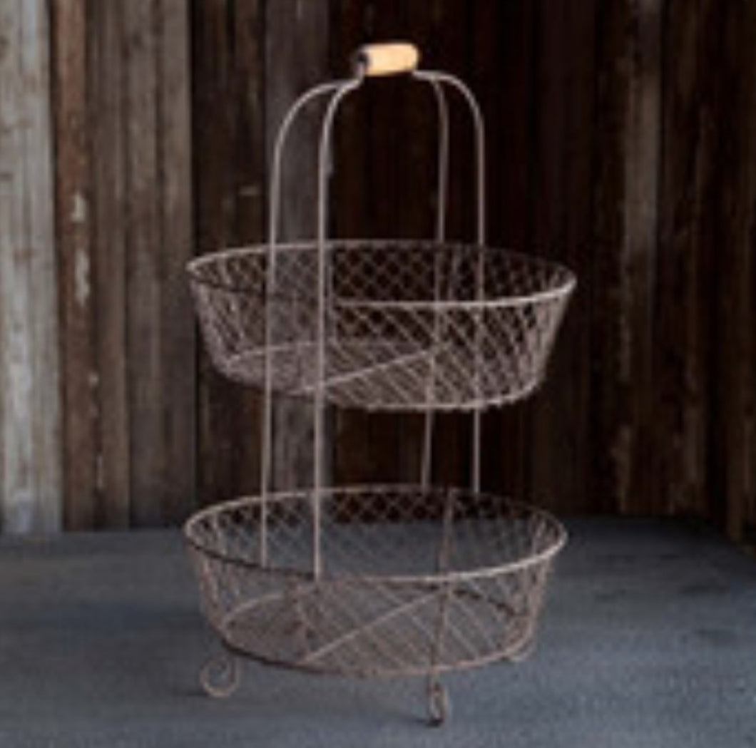 Two-Tier Round Wire Basket