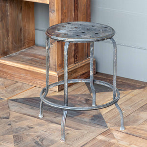 Aged Black Metal Stool