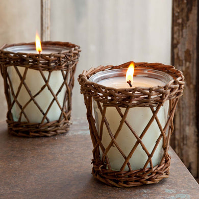 Burlap & Barnwood Willow Candle