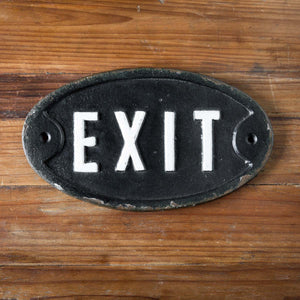 Cast Iron Exit Plaque