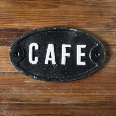 Cast Iron Café Plaque