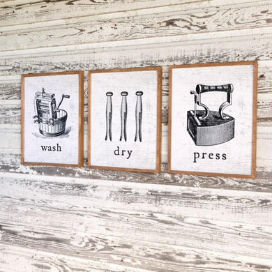 Wash-Dry-Press Prints, Set of 3
