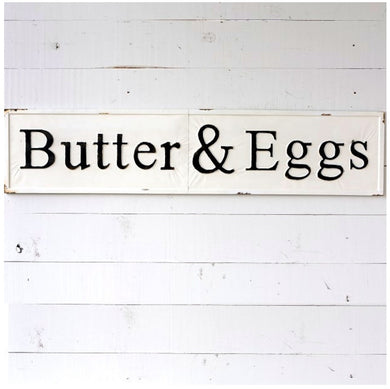 Embossed Metal Butter & Eggs Sign